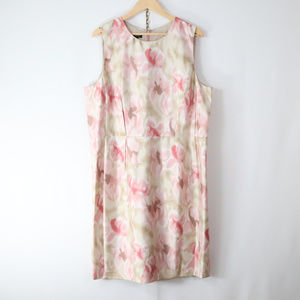 talbots 20 1X watercolor floral silk dupioni dress